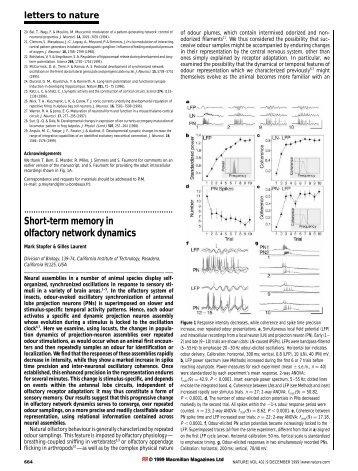 Short-term memory in olfactory network dynamics