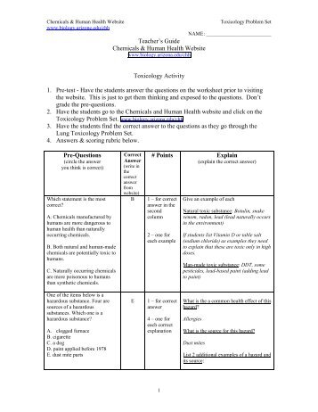 Toxicology Problem Set - Environmental Health and Toxicology ...