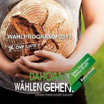 Wahlprogramm 2013 - Oberösterreichischer Bauernbund