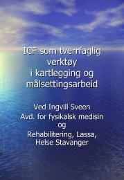 ICF som tverrfaglig verktøy, Ingvill Sveen