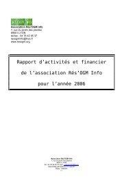Bilans 2006 - Rés'OGM info