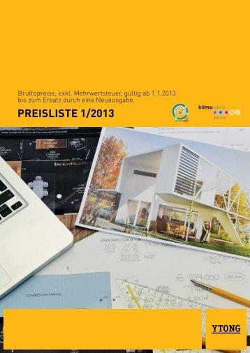 Brutto-Preisliste 1/2013 - Ytong