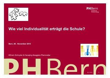Wie viel Individualität erträgt die Schule? - vhl-be.ch