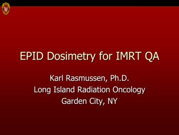 EPID Dosimetry for IMRT QA - Sun Nuclear