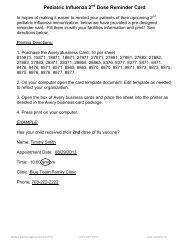 Pediatric Influenza 2nd Dose Reminder Cards