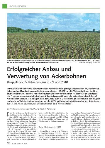 Erfolgreicher Anbau und Verwertung von Ackerbohnen