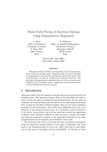 Option an pricing american pricing put