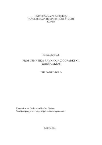 problematika ravnanja z odpadki na gorenjskem - Univerza na ...