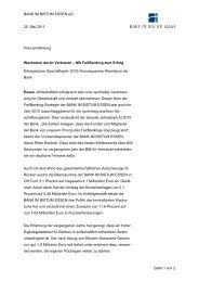 BANK IM BISTUM ESSEN eG 25. Mai 2011 Pressemitteilung Seite 1 ...