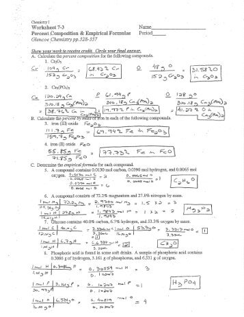 WS 7-3 Percent Comp & Empirical Formulas