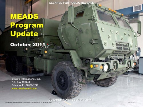 MEADS Program Update 2011 - The Medium Extended Air Defense ...