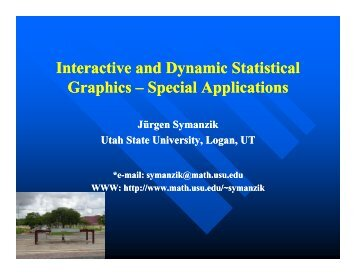 Interactive and Dynamic Statistical Graphics Special Applications ...