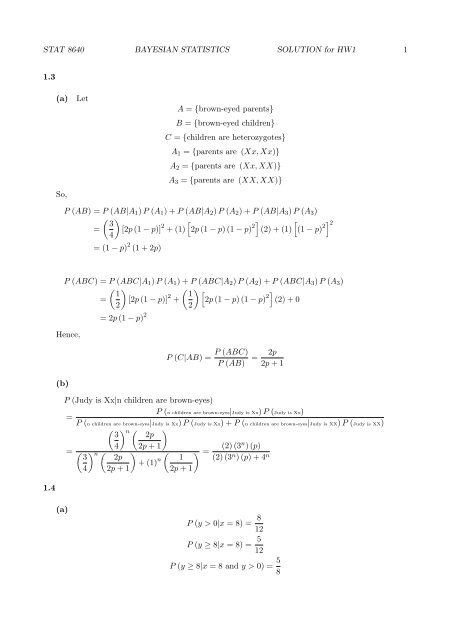 STAT 8640 BAYESIAN STATISTICS SOLUTION for HW1 1 1 3 (a