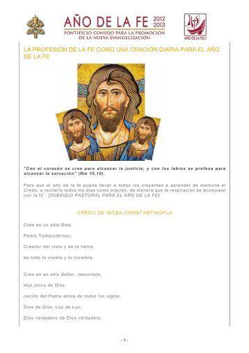 la profesión de la fe como una oración diaria para el año de la fe