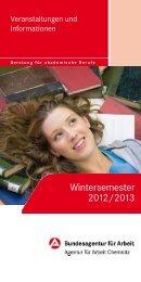 Veranstaltungen und Angebote zum Wintersemester 2012 / 2013