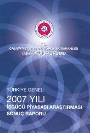 2007 Yılı İşgücü Piyasası Araştırması Sonuçları ... - Türkiye İş Kurumu
