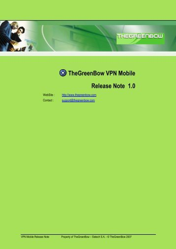 TheGreenBow VPN Mobile Release Note 1.0