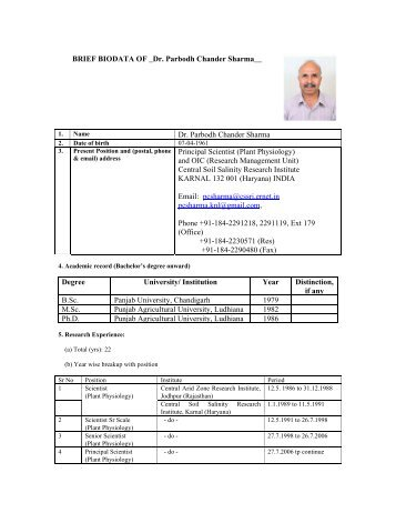 Dr. P. C. Sharma - Central Soil Salinity Research Institute