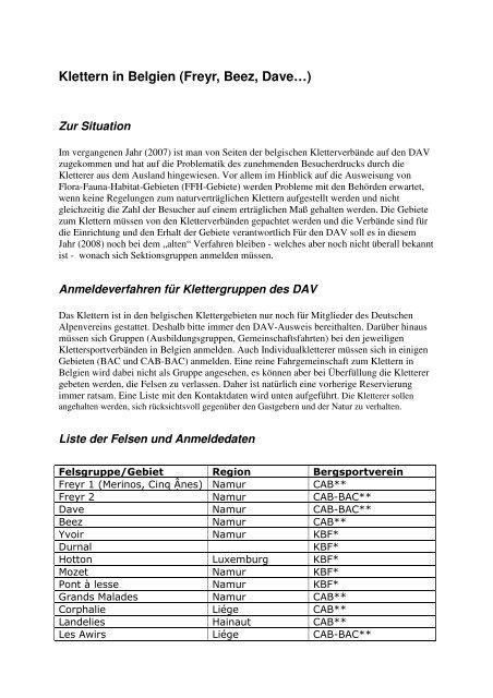Klettern in Belgien (Freyr, Beez, Dave…) - JDAV NRW