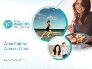 What Fairfax Women Want - Fairfax Media Adcentre