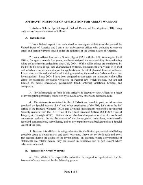 Affidavit in Support of Warrant for Yusuf Acar (pdf) - Washington Post