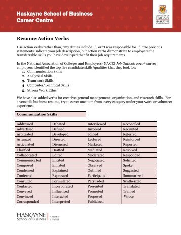 resume action verbs haskayne school of business university of - Resume Action Verbs