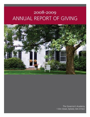 ANNUAL REPORT OF GIVING - The Governor's Academy