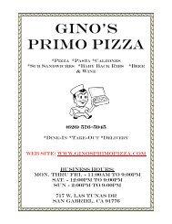 Gino's Primo Pizza - San Gabriel Valley Menus