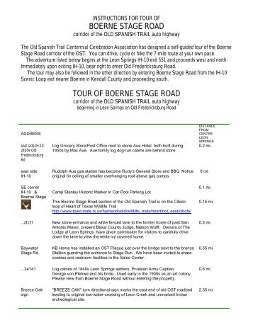 OST Boerne Stage Road Tour - Old Spanish Trail Centennial