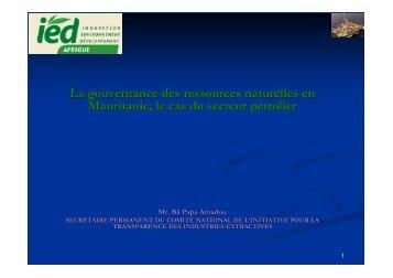 Cas du secteur pétrolier en Mauritanie - IED afrique