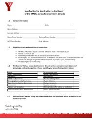Application for Nomination to the Board of the YMCAs across ...