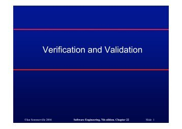 Verification and Validation - Ian Sommerville