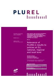 Relevance of PLUREL's results to policies at EU, national, regional ...