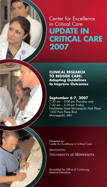Update in Critical Care 2007 - University of Minnesota Continuing ...