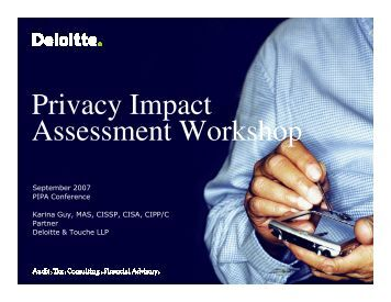 Privacy Impact Assessment Workshop - Verney Conference ...