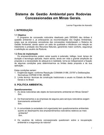 o Ambiental para Rodovias Concessionadas em Minas ... - assender