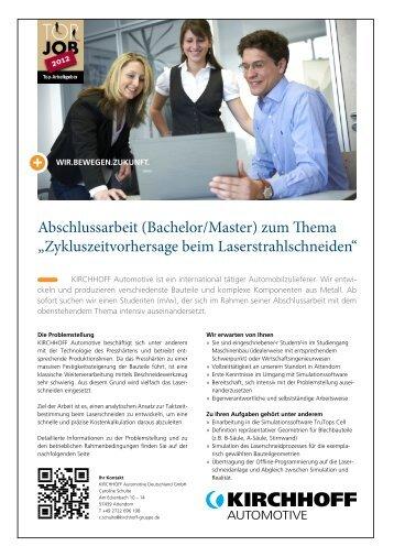 Abschlussarbeit (Bachelor/Master) zum Thema - KIRCHHOFF ...