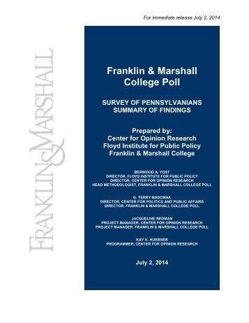 Franklin and Marshall College Pa Poll  July 02 2014