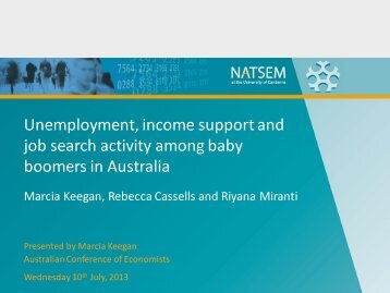 Unemployment, income support and job search activity ... - NATSEM