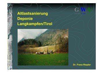 Altlastsanierung Deponie Langkampfen/Tirol - GWU Geologie-Wasser