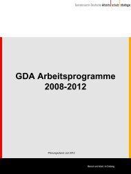 GDA-Arbeitsprogramme - Gemeinsame Deutsche ...