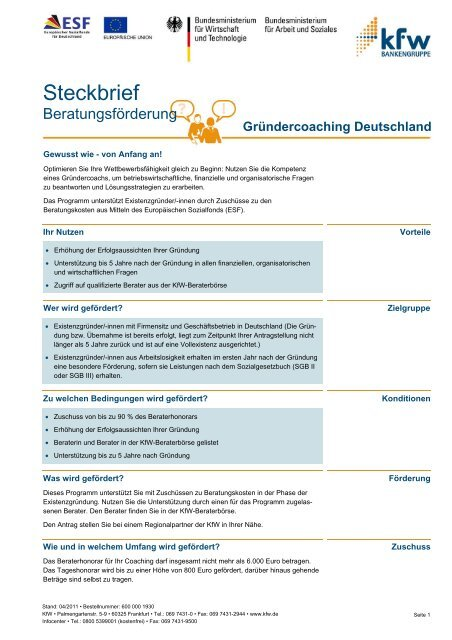 Steckbrief: Beratungsförderung · Gründercoaching Deutschland