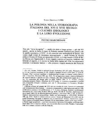 la polonia nella storiografia italiana del xvi e xvii ... - Europaorientalis.it