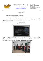 A Magyar Talajtani Társaság 2011/9. számú tájékoztatója