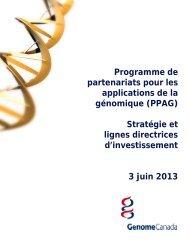 Stratégie et lignes directrices d'investissement - Genome Canada