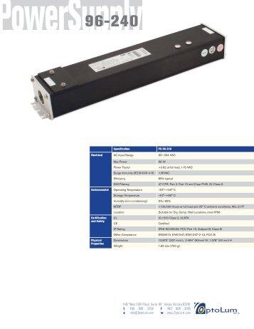 Power Supply 96-240 Brochure - OptoLum