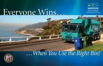 everyone wins when you use the right bin! - Bureau of Sanitation ...