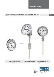 I Manuale d'uso Termometro bimetallico, modelli 53, 54, 55