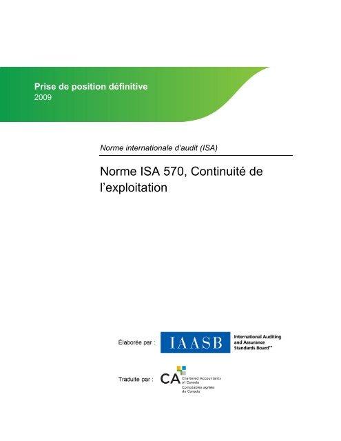 Continuité de l'exploitation - Normes d'information financière et de ...