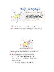 Example of Free Body Diagram and Application of II Law.